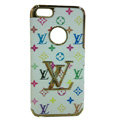 LOUIS VUITTON LV Luxury leather Cases Hard Back Covers Skin for iPhone 5S - White
