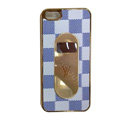 LV LOUIS VUITTON Luxury leather Cases Back Hard Covers for iPhone 5S - White