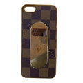 LV LOUIS VUITTON Luxury leather Cases Hard Back Covers Skin for iPhone 5S - Brown