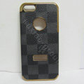 LV LOUIS VUITTON Luxury leather Cases Hard Back Covers Skin for iPhone 5S - Grey