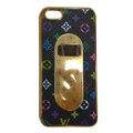 LV LOUIS VUITTON Luxury leather Cases Hard Back Covers for iPhone 5S - Black