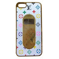 LV LOUIS VUITTON Luxury leather Cases Hard Back Covers for iPhone 5S - White