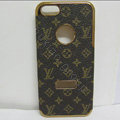LV LOUIS VUITTON leather Cases Luxury Hard Back Covers Skin for iPhone 5S - Brown