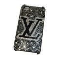 LV Louis Vuitton diamond Crystal Cases Bling Hard Covers for iPhone 5S - Black