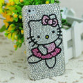 Luxury Bling Hard Covers Hello kitty diamond Crystal Cases for iPhone 5S - White