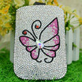 Luxury Bling Holster Covers Butterfly Crystal diamond Cases for iPhone 5S - Pink