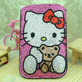 Luxury Bling Holster Covers Hello kitty diamond Crystal Cases for iPhone 5S - Rose