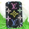 Luxury Bling Holster Covers LV Louis Vuitton Crystal diamond Cases for iPhone 5S - Black