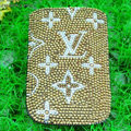 Luxury Bling Holster Covers LV Louis Vuitton diamond Crystal Cases for iPhone 5S - Brown