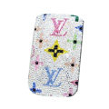 Luxury Bling Holster Covers LV Louis Vuitton diamond Crystal Cases for iPhone 5S - White