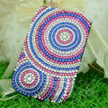 Luxury Bling Holster Covers Round Crystal diamond Cases for iPhone 5S - Blue