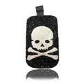 Luxury Bling Holster Covers Skull diamond Crystal Cases for iPhone 5S - Black
