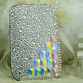 Luxury Bling Holster Covers diamond Crystal leather Cases for iPhone 5S - White