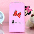 Minnie Mouse Flip leather Case Holster Cover Skin for iPhone 5S - Pink