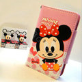 Minnie Mouse Side Flip leather Case Holster Cover Skin for iPhone 5S - Pink