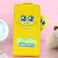 SpongeBob Flip leather Case Holster Cover Skin for iPhone 5S - Yellow