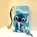 Stitch Side Flip leather Case Holster Cover Skin for iPhone 5S - Blue