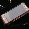 Swarovski Bling Metal Leather Case Cover Protective shell for iPhone 5S - Gold