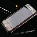 Swarovski Bling Metal Leather Case Cover Protective shell for iPhone 5S - Purple