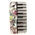 Swarovski Bling crystal Cases Piano Luxury diamond covers for iPhone 5S - White