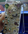 Swarovski crystal cases Bling Eiffel Tower bear diamond cover for iPhone 5S - White