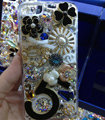 Swarovski crystal cases Bling Flowers diamond cover for iPhone 5S - Black