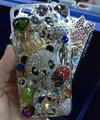 Swarovski crystal cases Bling Panda crown diamond cover for iPhone 5S - White