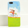 Ultrathin Matte Cases Bicycle girl Hard Back Covers for iPhone 5S - Green