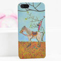 Ultrathin Matte Cases Horse boy Hard Back Covers for iPhone 5S - Yellow