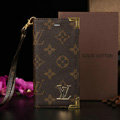 Unique LV Louis Vuitton Flower Leather Flip Cases Holster Covers For iPhone 5S - Brown