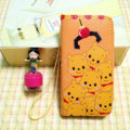 Winnie the Pooh leather Case Side Flip Holster Cover Skin for iPhone 5S - Yellow
