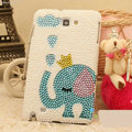 Bling Elephant Crystal Cases Pearls Cover for Samsung GALAXY NoteIII 3 - Blue