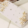 Flower Bling Battery Case Leather Cover for Samsung GALAXY NoteIII 3 - White