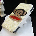 Luxury Paul Frank Bling Crystal Case Holster Leather Cover for Samsung GALAXY NoteIII 3 - White