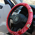 Ali Auto Car Steering Wheel Cover Rubber Cute Diameter 15 inch 38CM - Red