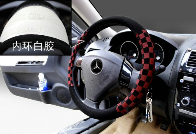 buy wholesale burberry auto car steering wheel cover matte pu leather lattice diameter 16 inch. Black Bedroom Furniture Sets. Home Design Ideas