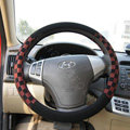 Burberry Auto Car Steering Wheel Cover Matte PU Leather Lattice Diameter 16 inch 40CM - Red