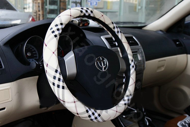 buy wholesale burberry auto car steering wheel cover pu leather stripe diameter 15 inch 38cm. Black Bedroom Furniture Sets. Home Design Ideas