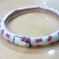 Hello Kitty Auto Car Steering Wheel Cover Rubber Flower Diameter 15 inch 38CM - White