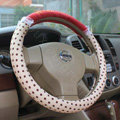 Hello Kitty Auto Car Steering Wheel Cover Plush Velvet Diameter 15 inch 38CM Bud Silk - Beige