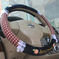 Hello Kitty Auto Car Steering Wheel Cover Plush Velvet Diameter 15 inch 38CM Bud Silk - Brown