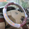 Hello Kitty Auto Car Steering Wheel Cover Plush Velvet Diameter 15 inch 38CM Bud Silk - Gray