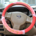 Hello Kitty Auto Car Steering Wheel Cover Plush Velvet Diameter 15 inch 38CM Bud Silk - Pink