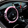 Hello Kitty Auto Car Steering Wheel Cover Plush Velvet Diameter 15 inch 38CM Flower Bud Silk - Pink