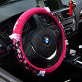 Hello Kitty Auto Car Steering Wheel Cover Plush Velvet Diameter 15 inch 38CM Flower Bud Silk - Rose