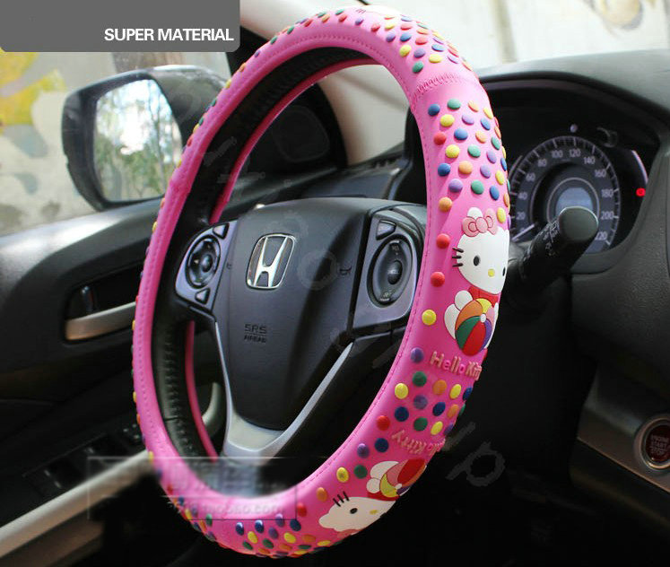 buy wholesale hello kitty auto car steering wheel cover rubber beans diameter 15 inch 38cm. Black Bedroom Furniture Sets. Home Design Ideas