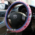 Hello Kitty Auto Car Steering Wheel Cover Rubber Bowknot Diameter 15 inch 38CM - Pink