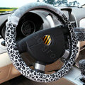Hello Kitty Auto Car Steering Wheel Cover Short Plush Velvet Diameter 15 inch 38CM Leopard - Gray