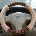 LV Auto Car Steering Wheel Cover Plush Velvet Flower Diameter 15 inch 38CM - Brown