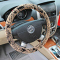 LV Auto Car Steering Wheel Cover Plush Velvet Printing Diameter 15 inch 38CM - Beige